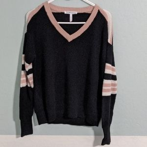 BCBG sweater v neck black and pink women's small
